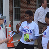 PETE  BANNAN-DIGITAL FIRST MEDIA       Mary Gay Scanlon supporter, Andrea Knox talks with  Linny Li supports Juda Erwin and April Wright outside the Upper Providence Township building Tuesday morning.