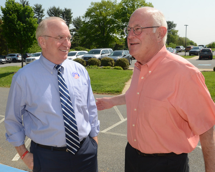 PETE  BANNAN-DIGITAL FIRST MEDIA          Republican candidate for Congress, Greg McCauley, left met