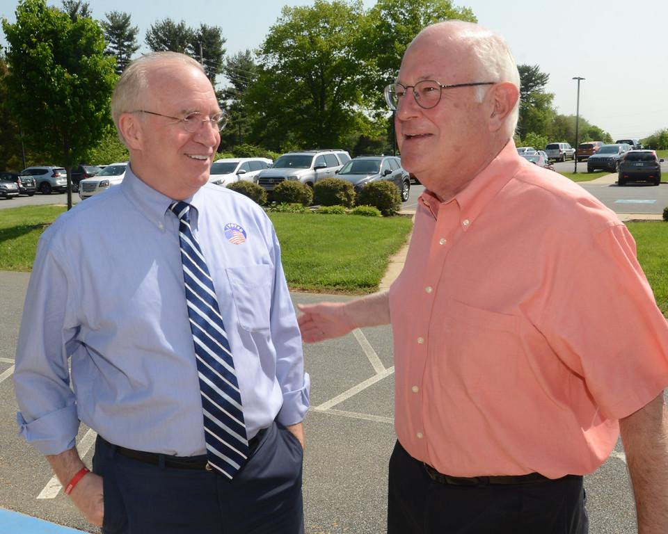 . PETE  BANNAN-DIGITAL FIRST MEDIA          Republican candidate for Congress, Greg McCauley, left met