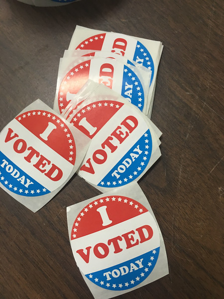 "PETE  BANNAN-DIGITAL FIRST MEDIA         ""I Voted Today"" stickers at West Chester Ward 4."