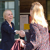 PETE  BANNAN-DIGITAL FIRST MEDIA       Mary Gay Scanlon greets Kaitlin Gurney outside the Furness Library in Wallingford Tuesday morning.