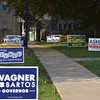 PETE  BANNAN-DIGITAL FIRST MEDIA         Campaign signs line the walk at Rose Tree Park Tueday, primary day in Pennsylvania.