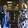 PETE  BANNAN-DIGITAL FIRST MEDIA       Mary Gay Scanlon and Ashley Linkenheimer were both on hand at the Furness Library in Wallingford Tuesday morning to greet voters.  The two exchanged hugs before they left.