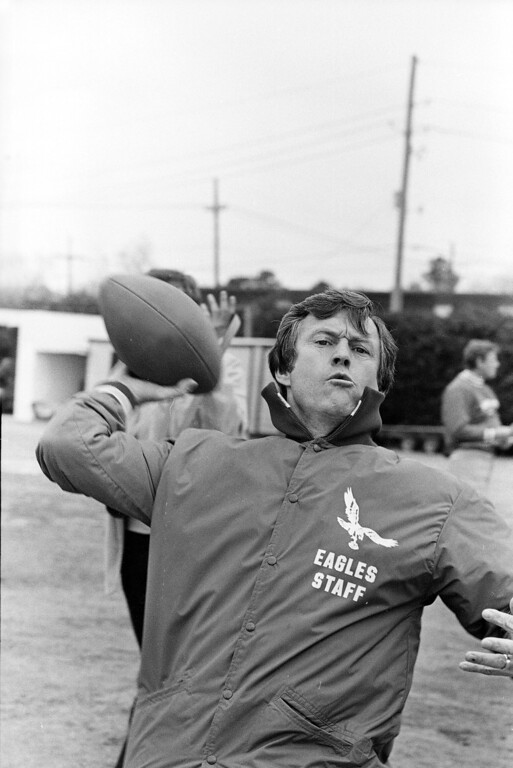 . Dick Vermeil, Philadelphia Eagles head coach, lets loose with a pass during a team practice session, Jan. 22, 1981, in New Orleans, before Sunday\'s Super Bowl game with Oakland Raiders.  (AP Photo)