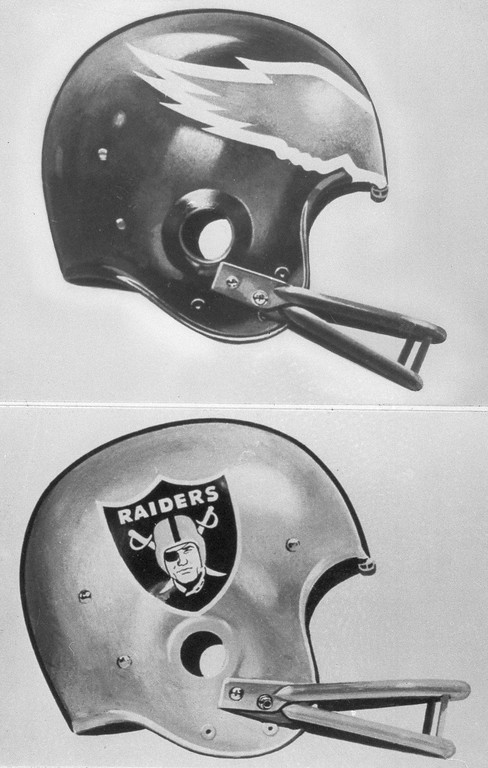 . These are the helmets of the Philadelphia Eagles, top, and the Oakland Raiders , bottom. The Eagles and Raiders will meet in Super Bowl XV at the Superdome in New Orleans, Jan. 25, 1981. (AP Photo)