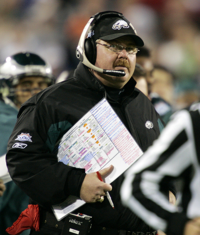 . Philadelphia Eagles head coach Andy Reid watches the action against the New England Patriots in the first quarter of Super Bowl XXXIX at Alltel Stadium on Sunday, Feb. 6, 2005, in Jacksonville, Fla. (AP Photo/Gene J. Puskar)
