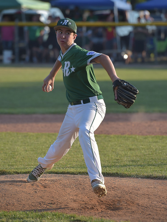 . PETE  BANNAN-DIGITAL FIRST MEDIA      Ridley Area pitcher Mike Floriendo  threw 85 pitches in their 13-7 victory over Aston Middletown in the deciding game of the District 19 Little League Majors tournament Tuesday evening.