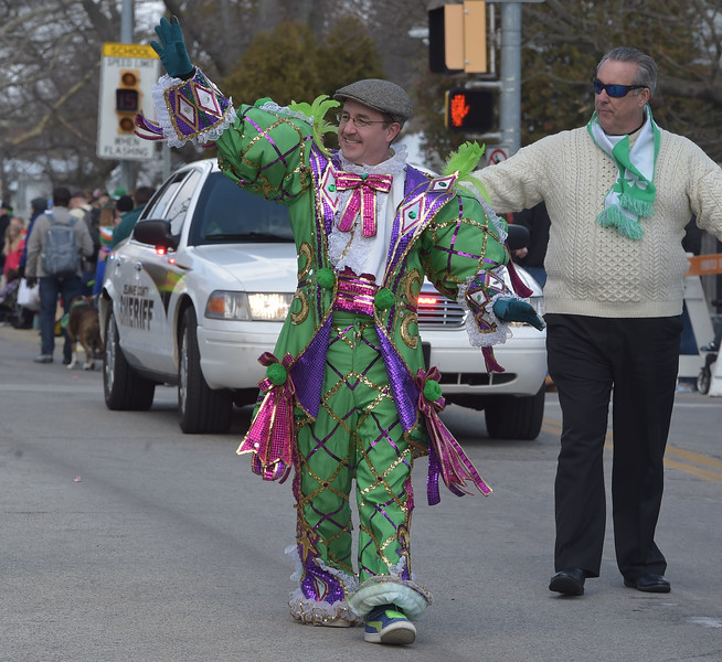 PETE  BANNAN-DIGITAL FIRST MEDIA      Springfield commissioner Ed Kelly sported Mummers attire though he didn't have a rousing Jason Kelce speech for Springfield's St. Patrick Day Saturday.