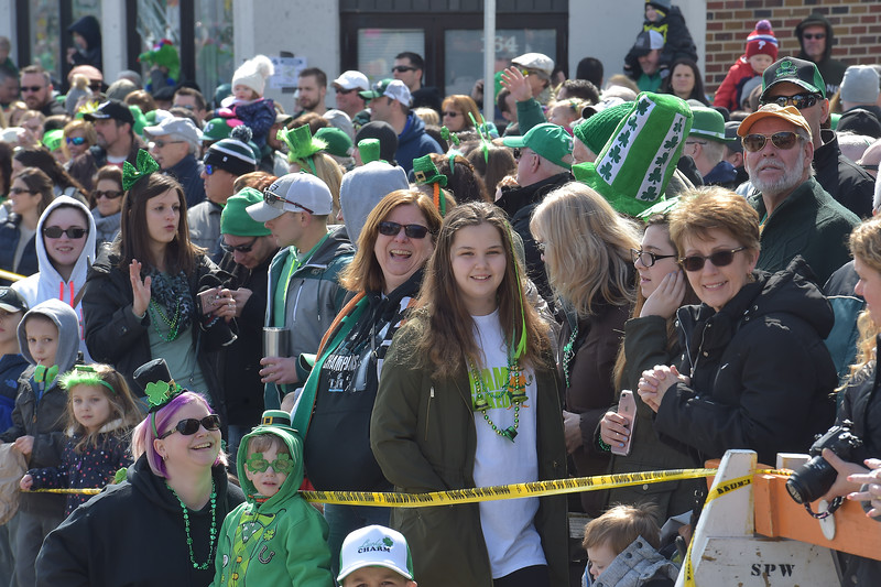 PETE  BANNAN-DIGITAL FIRST MEDIA      Plenty of smiling faces filled Saxer Ave. for Springfield's St. Patrick Day parade Saturday.