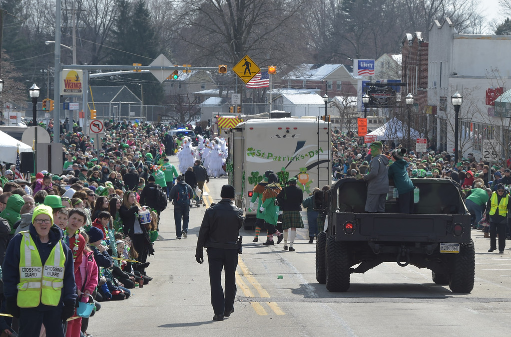 . PETE  BANNAN-DIGITAL FIRST MEDIA      Springfield\'s St. Patrick Day filled Saxer Ave. Saturday with thousands who enjoyed the parade under sunny skies.