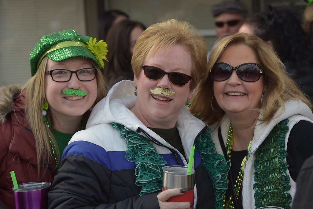 . PETE  BANNAN-DIGITAL FIRST MEDIA     Alicia Gould, Kim GOuld and Donna Mitchell of Cinncinnatti, formerly of Springfield are stached for Springfield\'s St. Patrick Day Saturday.