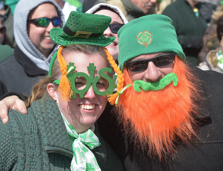 PETE  BANNAN-DIGITAL FIRST MEDIA     Cathy Durning and Luigi Lazzaro of Folsom are all smiles at Springfield's St. Patrick Day parade under sunny skies.