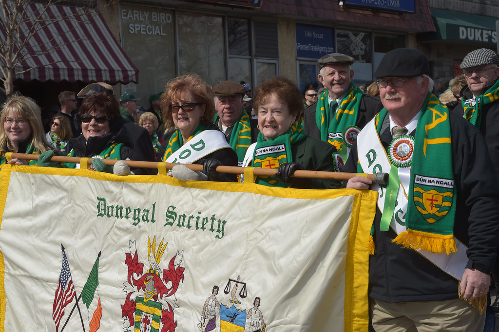 . PETE  BANNAN-DIGITAL FIRST MEDIA     members of the Donegal Society march in Springfield\'s St. Patrick Day Saturday.