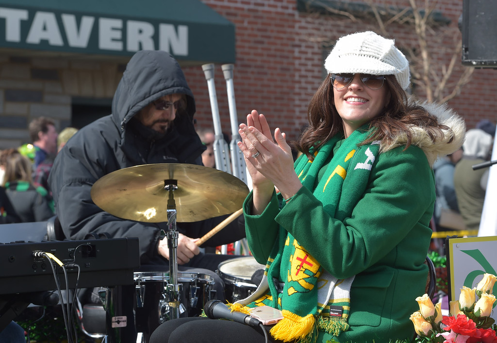 . PETE  BANNAN-DIGITAL FIRST MEDIA      Karen Boyce McCullum of Broomall enjoys the music at Springfield\'s St. Patrick Day Saturday.