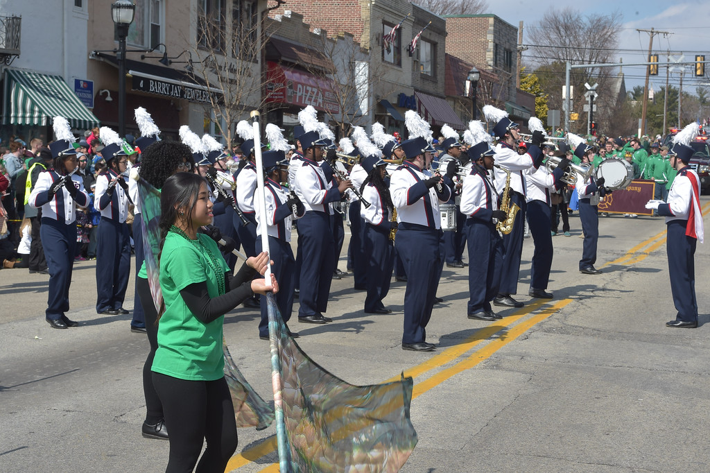 . PETE  BANNAN-DIGITAL FIRST MEDIA     Cardinal O\'Hara band performs at Springfield\'s St. Patrick Day parade.