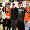 PETE  BANNAN-DIGITAL FIRST MEDIA     Springfield student Aiden Smith, teach Denise Mroz, Philadelphia Flyers forward, Braydon Schenn, students Kevin Brown, Scott Oslar and Erica Offermann.