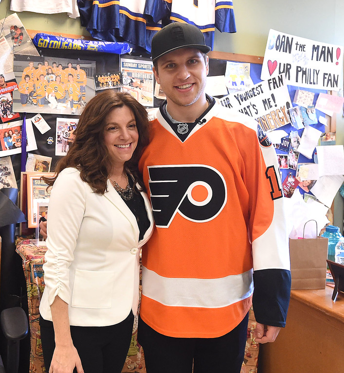 . PETE  BANNAN-DIGITAL FIRST MEDIA        Members of the Springfield ice hockey team had a visit from Philadelphia Flyers forward, Braydon Schenn, right,  Monday to thank them for their support. The visit came about as a result of efforts by Language Arts teacher and avowed hockey nut, Denise Mroz who coined the term �Schennergy�.