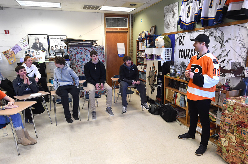 PETE  BANNAN-DIGITAL FIRST MEDIA        Members of the Springfield ice hockey team had a visit from Philadelphia Flyers forward, Braydon Schenn, right,  Monday to thank them for their support. The visit came about as a result of efforts by Language Arts teacher and avowed hockey nut, Denise Mroz who coined the term 'Schennergy'.
