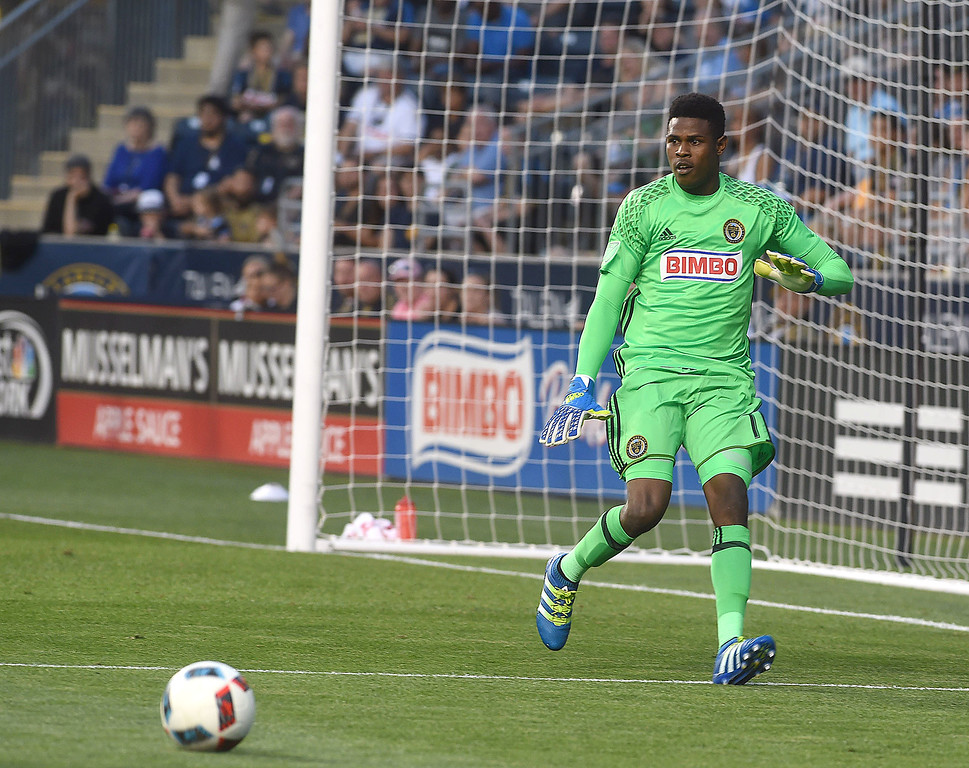 . PETE BANNAN-DIGITAL FIRST MEDIA   The Philadelphia Union\'s  Andre Blake defends agaisnt the Chicago Fire in the econd half of the Union\'s 4-3 victory at Talen Energy Stadium June 22, 2016.