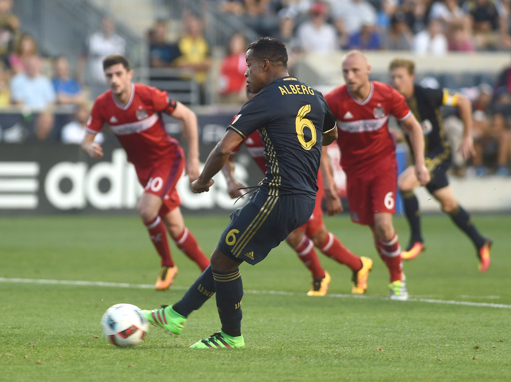 . PETE BANNAN-DIGITAL FIRST MEDIA   Roland Alberg, shoots a pently kick, scoring his third goal in the Union\'s 4-3 victory over the Chicago Fire at Talen Energy stadium in Chester Wednesday June 22, 2016. It ews the first Union hat trick since April 10, 2010.