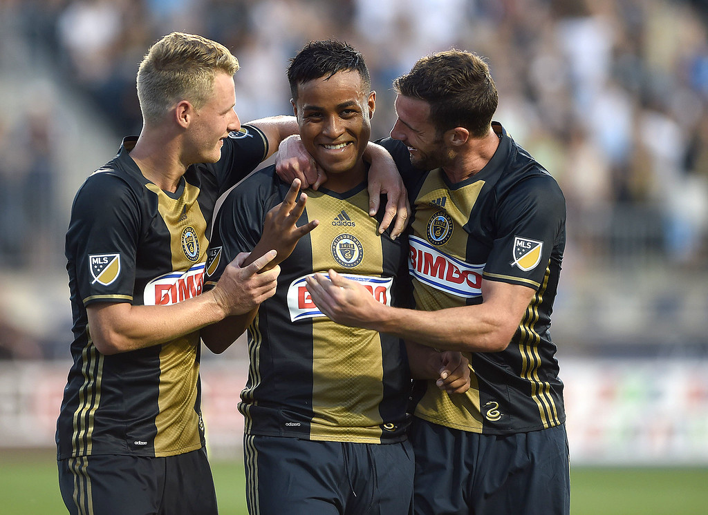. PETE BANNAN-DIGITAL FIRST MEDIA   Roland Alberg, center, celebrates his three goal game with teammates, Fabian Herbers , left and Chris Pontius in the Union\'s 4-3 victory over the Chicago Fire at Talen Energy stadium in Chester Wednesday June 22, 2016. It was the first Union hat trick since April 10, 2010.