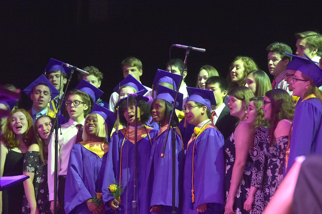 . PETE  BANNAN-DIGITAL FIRST MEDIA           The Upper Darby High School Encore Singers perform �You Will Be Found� from the Broadway musical Dear Evan Hansen during commencement at the Tower theater Thursday morning.