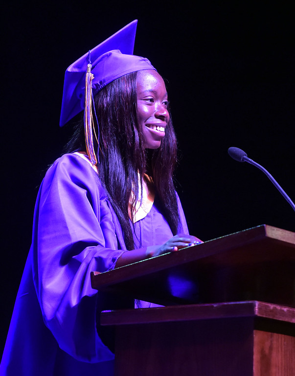 . PETE  BANNAN-DIGITAL FIRST MEDIA           Upper Darby High School commencement speaker Jerenita Sokan gave a Graduation Welcome during their 120th commencement which was held at the Tower theater Thursday morning.