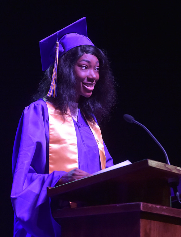 . PETE  BANNAN-DIGITAL FIRST MEDIA           Upper Darby High School commencement speaker Sandra Olaniyi spoke to the Class of 2018 during their 120th commencement which was held at the Tower theater Thursday morning.