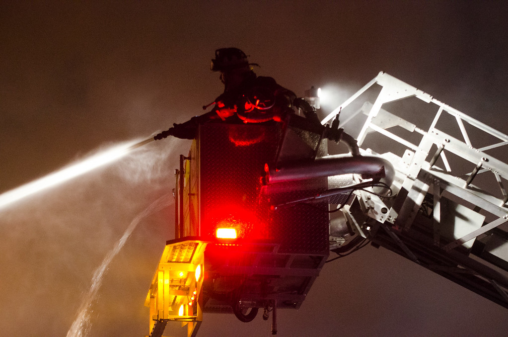 . Firefighters from Upper Darby battled a blaze Thursday evening after a duplex on 36 Overhill Rd. erupted in a devastating fire.  Photos by RICK KAUFFMAN - DELAWARE COUNTY DAILY TIMES
