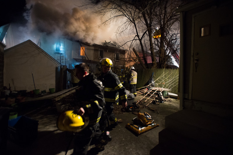 Firefighters from Upper Darby battled a blaze Thursday evening after a duplex on 36 Overhill Rd. erupted in a devastating fire.<br /> <br /> Photos by RICK KAUFFMAN - DELAWARE COUNTY DAILY TIMES
