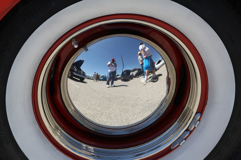 "May 1, 2012,  ""SP""  Back in the day we called these hubcaps Baby Moons, I made this shot at our recent car show in Temple and have been saving it for Linda.  Happy May Basket day!"