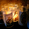Candles at one of the Shrines outside the Santuario de Chimayo on April, 1, 2010.            Luis Sanchez Saturno/ The New Mexican.