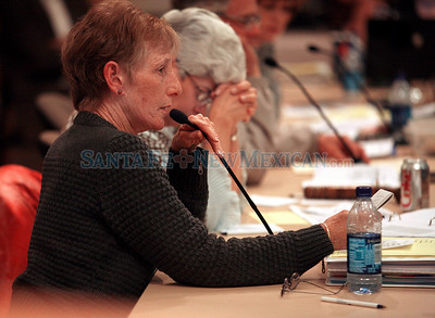 School board votes on closing/consolidating small schools in Santa Fe, N.M., on April 22, 2010. (l-r) Barbara Gudwin and Mary Ellen Gonzales Natalie Guillen/The New Mexican