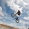 Laramie Petersen, 23, from Santa Fe, rides his bike at  at Franklin E. Miles Park on April 16, 2010.           Luis Sanchez Saturno/ The New Mexican.