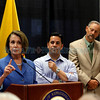 Congressman Ben Ray Lujan, center, and Santa Fe Major David Coss, right, listen as Nancy Pelosi, House Minority Leader, talks in support of Medicare and Social Security during a press conference at the Mary Esther Gonzales Senior Center on Aug. 29, 2011.<br /> <br /> Photo by Luis Sánchez Saturno/The New Mexican