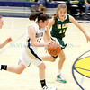 Santa Fe High Mariah Solano,#13, drives the ball down court while Los Alamos Madison Ahlers, #11, and Anna Scott, #3  try to intersect during the first quarter of their game on Wednesday, February 9, 2011 at the Toby Roybal Gymnasium in Santa Fe. Santa Fe was up 9-7 at half-time.<br /> Photos by Jane Phillips/The New Mexican