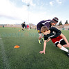 Dalton Dortese, 16, front, tries to avoid Mateo Armijo, 17, while running drills during practice with the NSC Strikers at Bicentenial Park  on Feb. 21, 2011.<br /> <br /> Photo by Luis Sánchez Saturno/The New Mexican
