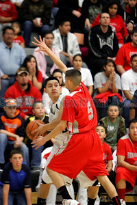 The first quarter of the Capital High School vs Bernalillo High School boys basketball game on Feb. 25, 2012, at Capital High School.  Photo by Luis Sanchez Saturno/The New Mexican