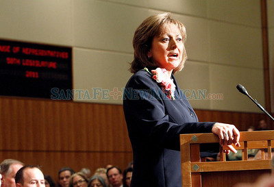 Republican Gov. Susana Martinez outlines her legislative priorities to New Mexico's 112 lawmakers Tuesday, January 18, 2011 in the opening of  the 60-day session.  Reinstating the death penalty, don't raise taxes but cut spending on school administration costs and reduce film production incentives were some of the goals she spoke of. Photos by Jane Phillips/The New Mexican
