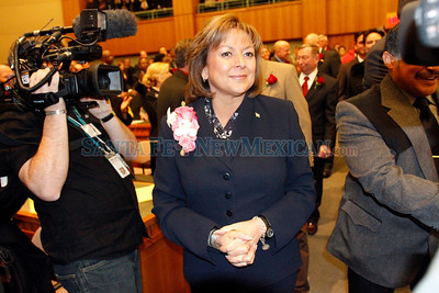 Susana Martinez walks into the House chambers before her State of the State addresss on the first day of the legislative session in Santa Fe, N.M., on Jan. 18, 2010.  Natalie Guillén/The New Mexica
