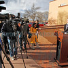 Matt Chandler, 9th district attorney, holds a press conference outside of district court in Santa Fe on Jan. 19, 2011. Former Santa Fe County Sheriff Greg Solano was arrested Wednesday on 251 counts of embezzlement and one count of fraud.          Photos by Luis Sanchez Saturno/The New Mexican