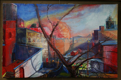 A painting by Miller Lopez on Lincoln Ave at Contemporary Hispanic Market on July 24, 2010, in downtown Santa Fe.                   Luis Sanchez Saturno/ The New Mexican.
