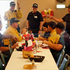 Los Alamos County firefighter hang out at the Elks Lodge in Los Alamos while they get lunch on July 3, 2011. The Elks Lodge volunteered to feed all the people working and staying in Los Alamos during the Las Conchas Fire.<br /> <br /> Photo by Luis Sánchez Saturno/The New Mexican