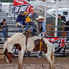Ross Cooper, from College Station, TX, rides during the bareback bronc riding event at the Rodeo De Santa Fe on June 25, 2010.                Luis Sanchez Saturno/ The New Mexican.