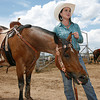 Kelsi Elkins of Aztec, NM and Maggie speak to a reporter after her<br />  competion in the Barrel Racing during the final day of Rodeo de Santa Fe on Saturday, June 26, 2010.<br /> Photos by Jane Phillips/The New Mexican