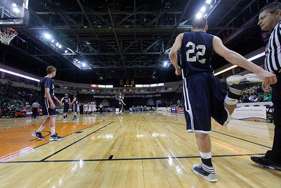 The first quarter of the Mora vs Santa Fe Prep at the Santa Ana Star Center in Rio Rancho during the Basketball State Championship on Mar. 7, 2012.  Photo by Luis Sanchez Saturno/The New Mexican