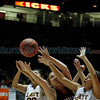 The first quarter of the Santa Fe Indian School vs Portales at The Pit in Albuquerque during the Basketball State Championship on Mar. 8, 2012.<br /> <br /> Photo by Luis Sanchez Saturno/The New Mexican