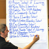Following the first round of eliminating names, Larragoite Elementary 5th grade teacher Annette Youngren writes the 14th proposed name, down from the original 49 submitted. <br /> Clyde Mueller/The New Mexican