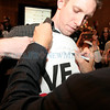 Former Gov. Gary Johnson signs a t-shirt for Ryan Kaszuba of<br /> Albuquerque at Hotel Albuquerque during an election night party for<br /> the Libertarian candidate in Albuquerque, N.M. on Nov. 6, 2012.    Kate Nash/The New Mexican
