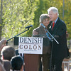 Former President Bill Clinton hugs Lt. Governor Diane Denish as he showed up to support her at the Espanola Plaza on Friday, October 14, 2010. Thousands of people were out at the plaza.<br /> Photos by Jane Phillips/The New Mexican